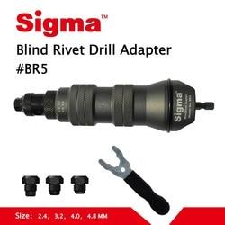 Sigma # BR5 Blind Pop Klinknagel Boor Adapter Draadloze of Elektrische boormachine adapter alternatief air pneumatische klinkhamer rivet gun