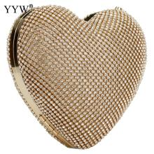 Full Luxury Diamond Evening Bags Heart Shape Gold Clutch Bag Purse Women Rhinestone Banquet Bag Day Clutch Female 3 Color New