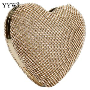 Image 1 - Full Luxury Diamond Evening Bags Heart Shape Gold Clutch Bag Purse Women Rhinestone Banquet Bag Day Clutch Female 3 Color New