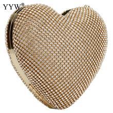 Luxo cheio de diamante sacos de noite coração forma ouro bolsa de embreagem bolsa feminina strass banquete dia embreagem feminino 3 cores novo