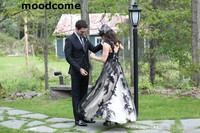Modest Black and White Wedding Dresses Short Front Long Back Tulle Sweetheart Vintage Plus Size Lace Gothic 2018 Spring Summer