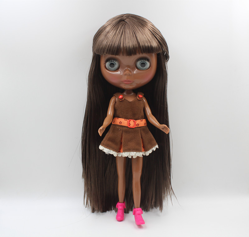 Blyth Doll Blygirl Deep black skin dark brown bangs straight hair new color ordinary body 7 joint body