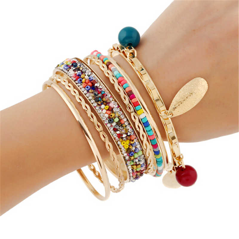 2019 Bohemian Multilayer Bracelet Femme Coin Fabric Charm Bracelets Bangles sets for Women Simulated Pearl Pulseras mujer Bijoux