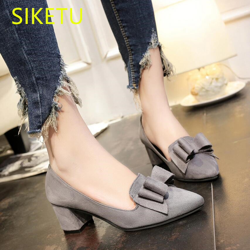 SIKETU Free shipping Spring and autumn high heels shoes waterproof Suede work women shoes Wedding Sexy Pointed bow pumps OL g029 siketu 2017 free shipping spring and autumn women shoes fashion sex high heels shoes red wedding shoes pumps g107