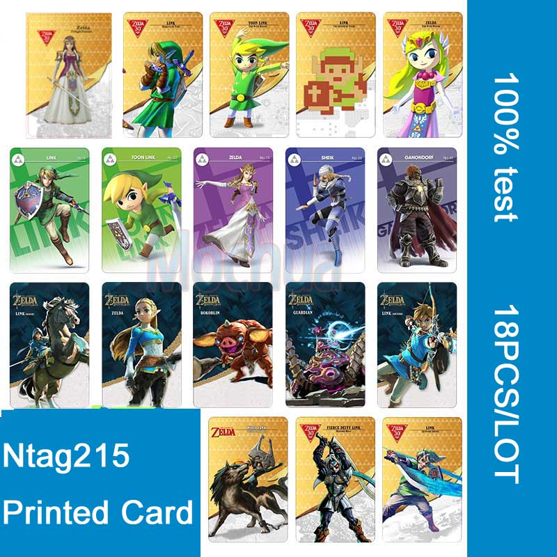 18pcs NFC cards NTAG215 Printing Card for The Legend of Zelda:  Breath of the Wild 2008 donruss sports legends 114 hope solo women s soccer cards rookie card