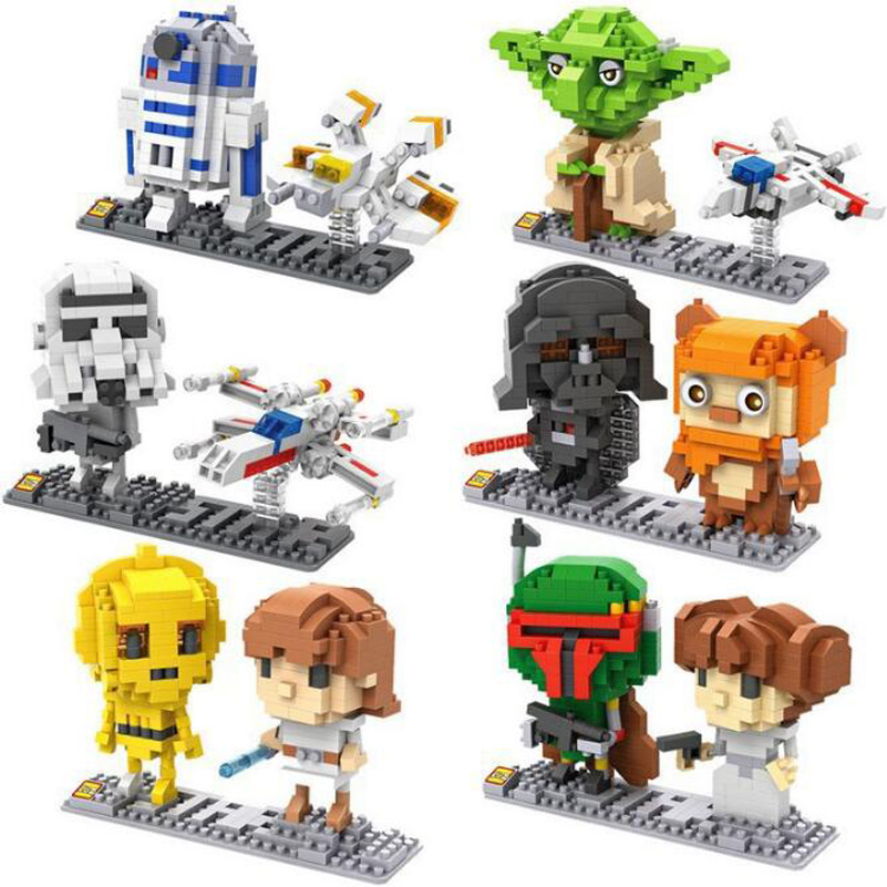 LOZ 6 Styles Star War Building Blocks BB8 Robot Master Yoda Compatible Mini Bricks DIY Toys For Children Christmas Gifts