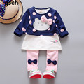 2016 Boutique Kids Clothing Sets 2pcs(Shirt + Trousers) Full O-neck Pullover Bow Cat Baby Toddler Girl Clothing roupas meninas