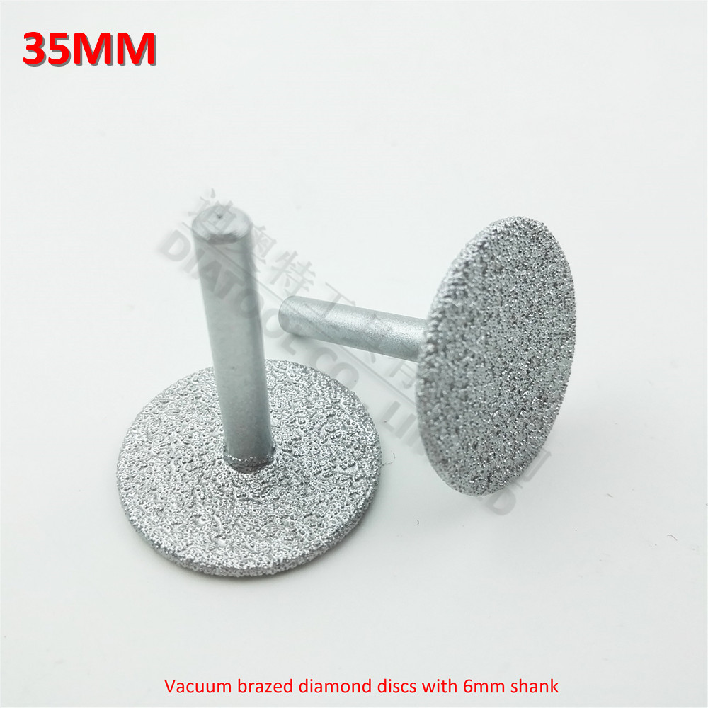 DIATOOL 2pcs Dia35mm Vacuum Brazed Diamond Discs With 6mm Shank For Cutting Grinding And Engraving Diamond Disc
