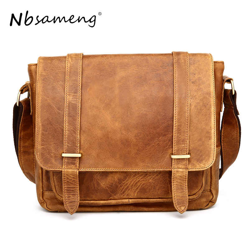 NBSAMENG Vintage Men Messenger Bags Genuine Leather Men Bag Crossbody Sling Single Male Shoulder Bag