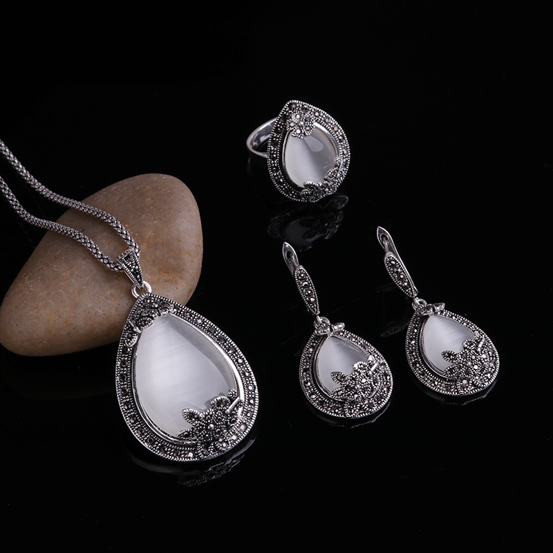 HTB12fHqPXXXXXbaaXXXq6xXFXXXx - Feelgood Vintage Silver Color Jewellery Big Water Drop Pendant Necklace Set Natural Stone White Opal Jewelry Sets For Women Gift