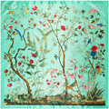 2017 High Quality New Jungle Flowers Birds Pashmina Scarves 90*90cm Square Women Silk Feeling Scarf Luxury Brand Pashmina Shawl
