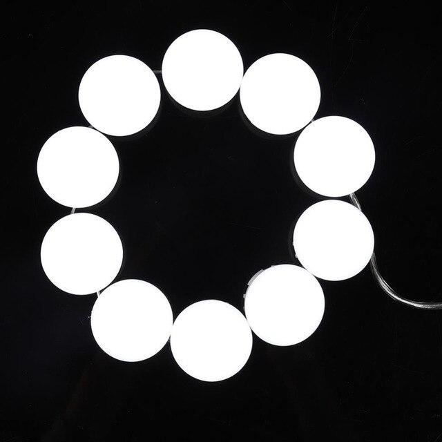 10 لمبات مرآة لوضع مساحيق التجميل الغرور LED مصابيح كهربائية كيت USB ميناء الشحن التجميل لمبة قابل للتعديل المكياج مرايا سطوع أضواء 4