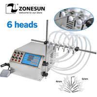 ZONESUN 6 têtes buse liquide parfum eau jus huile essentielle électrique numérique contrôle pompe liquide Machine de remplissage