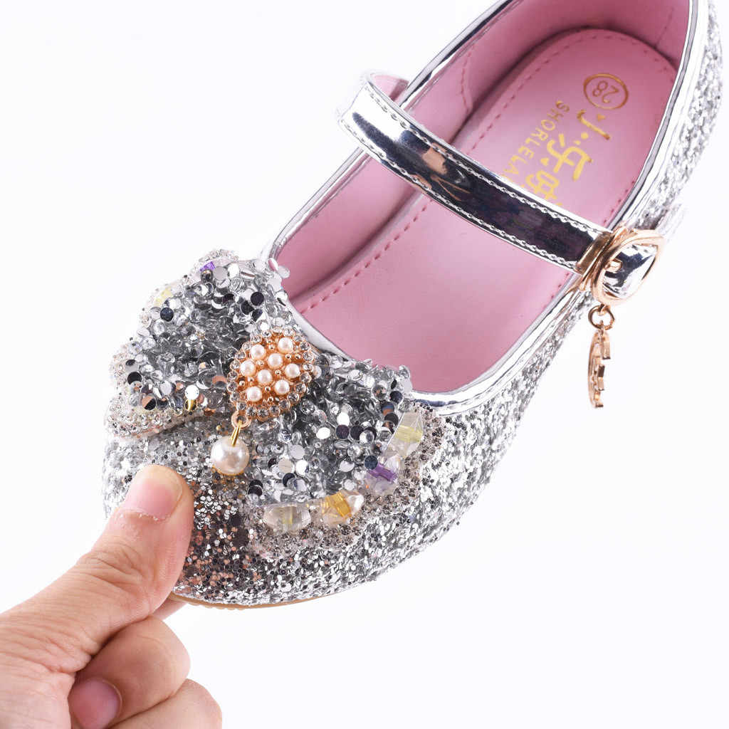 27228889ab82 ... Infant Kids Baby Girls Pearl Crystal Bling Bowknot Single Princess  Shoes Sandals Cherry Single Party Shoes ...