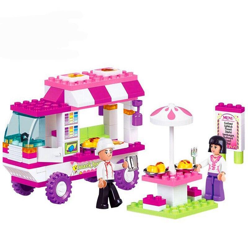 SLUBAN 0155 Girl Friends Snack Car Pink Dream Building Blocks Brick Compatible Legoe Playmobil Toys For Children