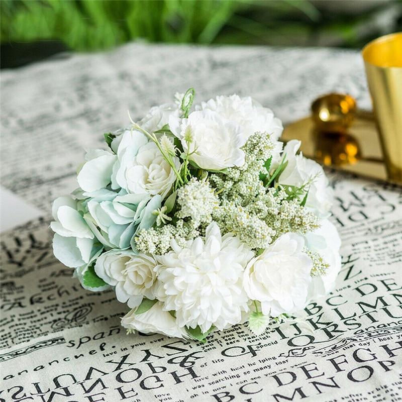 Artificial Rose Flower For Wedding Decoration Party Home Decor Fake Flowers Bridal Bouquet Floral Supplies Fashion Romantic