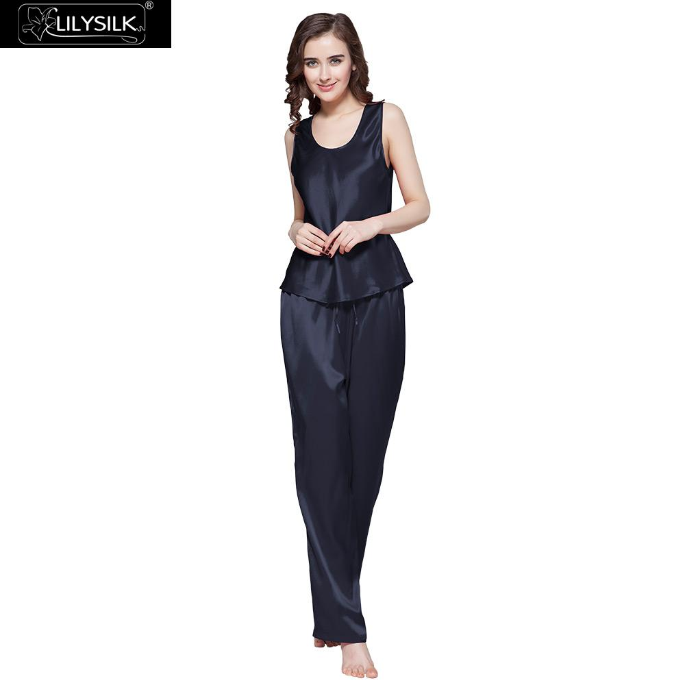 LilySilk Pajamas Set Female Sleepwear 100 Pure Silk Women 22 momme Camisole  With Long Pants Luxury Nightwear Free Shipping 4af2c8c3c