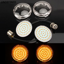 2 Bullet LED Turn Signal Indicator Light Lens Cover 1157 &1156 Lamp Panel For Harley Sportster XL1200 883 Touring Softail Dyna