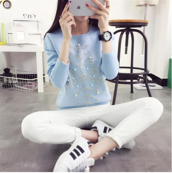 Winter Snowflake Trendy Sweater Women Jersey Pullover Christmas Clothing For Female Sweet Pull Femme Knitting Wool Knitted Top
