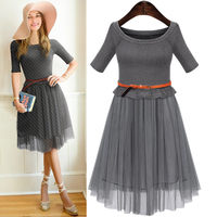 Women Knitted Lace Mesh Jupe Tulle High Waist Ball Gown Pleated Tulle Skirt Knitting Patchwork Knee