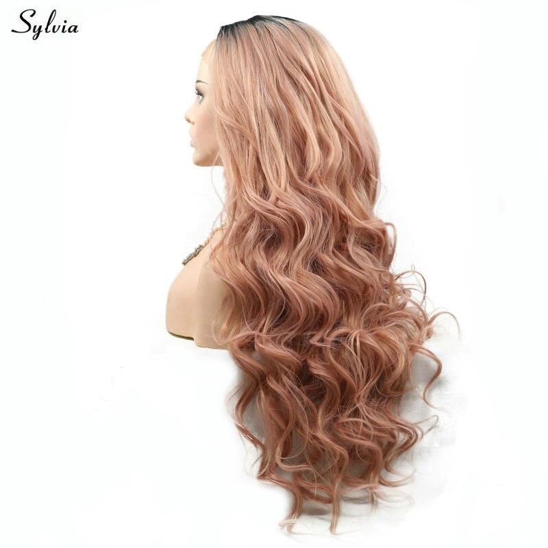 Sylvia Natural Wave Rökrosa Wig High Temperature Fiber Lång Hår - Syntetiskt hår - Foto 2