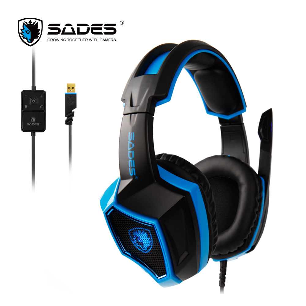 SADES LUNA Virtual 7.1 Surround Sound headphones Cool Headset Professional Computer Gaming Headphone with Flexible Microphone