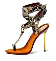 Sexy Snakeskin T bar Sandals Gold Metal Thin Heel Woman Dress Shoes Python Printed Sandals Big Size 10 Flip Sandals