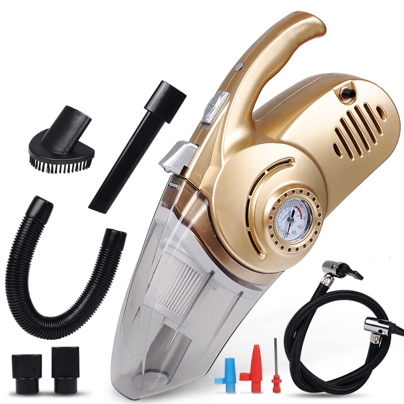 4 In 1 Dual Use Car Vacuum Cleaner Inflator Pressure Tester Handheld Car Auto Inflatable Pump High Power With Light Digital Show
