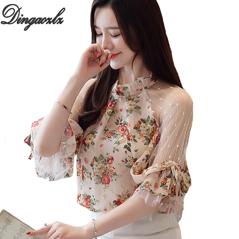 Dingaozlz New Fashion Printed Chiffon   shirt   Patchwork Mesh Tops Casual Summer Women   Blouse     shirt