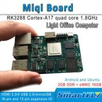Miqi single board  RK3288 ARM Quad-core A17 Entwicklung/demo board 1.8GHzx4  open source Ubuntu  android HDMI 2 gb DDR 16 GeMMC