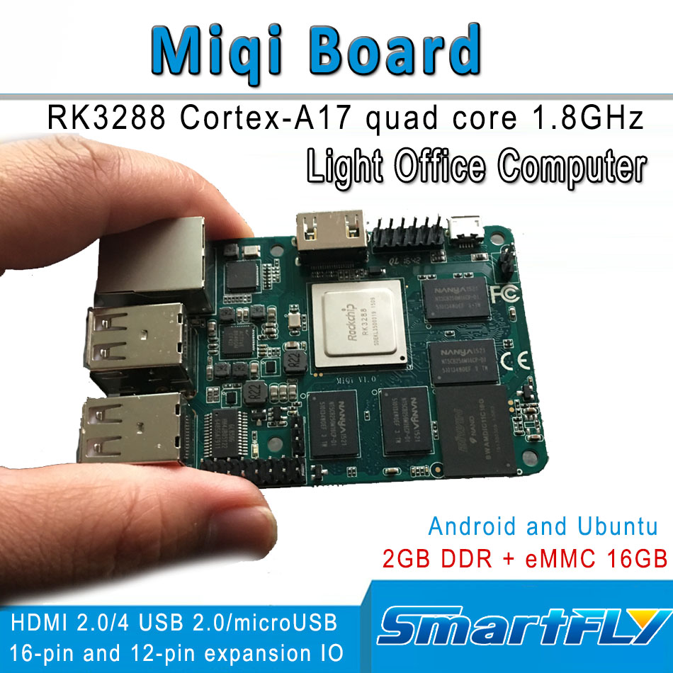 miqi single board,RK3288 ARM Quad-core A17 Development/demo board 1.8GHzx4, open source Ubuntu, Android HDMI 2GB DDR 16GeMMC fast free ship 16m flash csr8670 development board debug board demo board emulation board adk3 5 1 adk3 0 i2s spdif