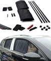 2pcs/Set Black Adjustable VIP Car Window Mesh Sun Shade Protector Foldable Blocking Sunlight Car Curtain Visor Pair