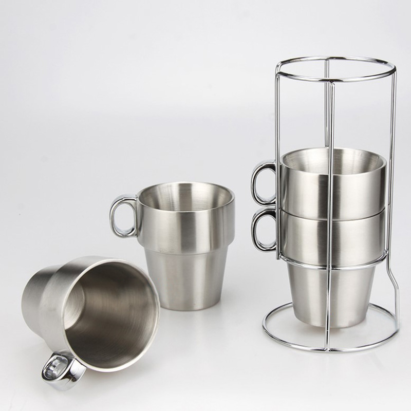 Brief Stainless Steel Espresso Coffee mug Solid Color Coffee <font><b>cup</b></font> sell by set with rack <font><b>inside</b></font>