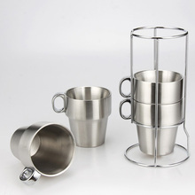 Brief Stainless Steel Espresso Coffee mug Solid Color Stainless steel Coffee cup set with rack