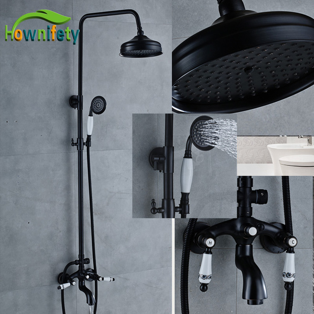 Wall Mounted Bath & Shower Faucets Ceramic Handheld Showerhead 8 ...