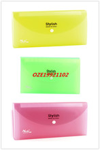 1PCS Clear 13 Pocket Press Stud Yellow Green Red Plastic Receipt Coupon Organizer File Box