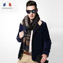 Langmeng 2016 новый мужчины куртка вельвет ватные теплое пальто куртки бесплатная доставка тонкий и пиджаки мода пиджаки сплошной цвет с xxxl