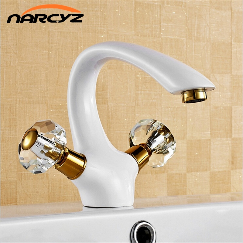 Deck mount dual handle single hole white vessel sink bathroom basin faucets W3018Deck mount dual handle single hole white vessel sink bathroom basin faucets W3018