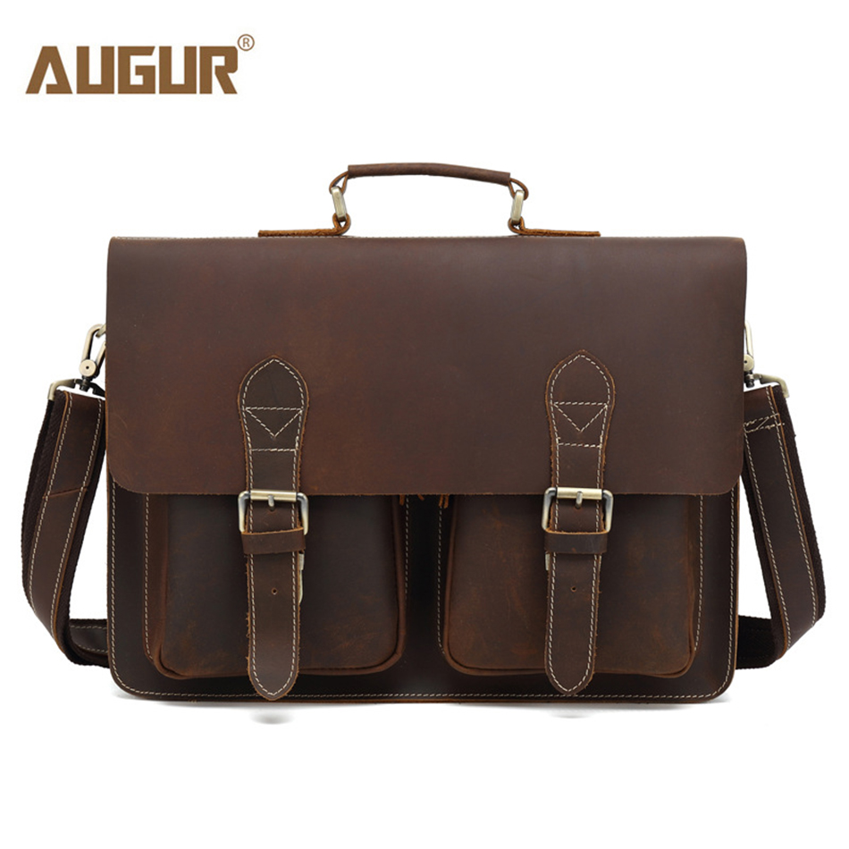 AUGUR Genuine Leather Bag Men leather Bags Messenger Bag Laptop Male Man Casual Tote Shoulder Crossbody bags Handbags Business augur brand men s messanger bags casual travel bag male army military crossbody tote bag high quality canvas shoulder bags