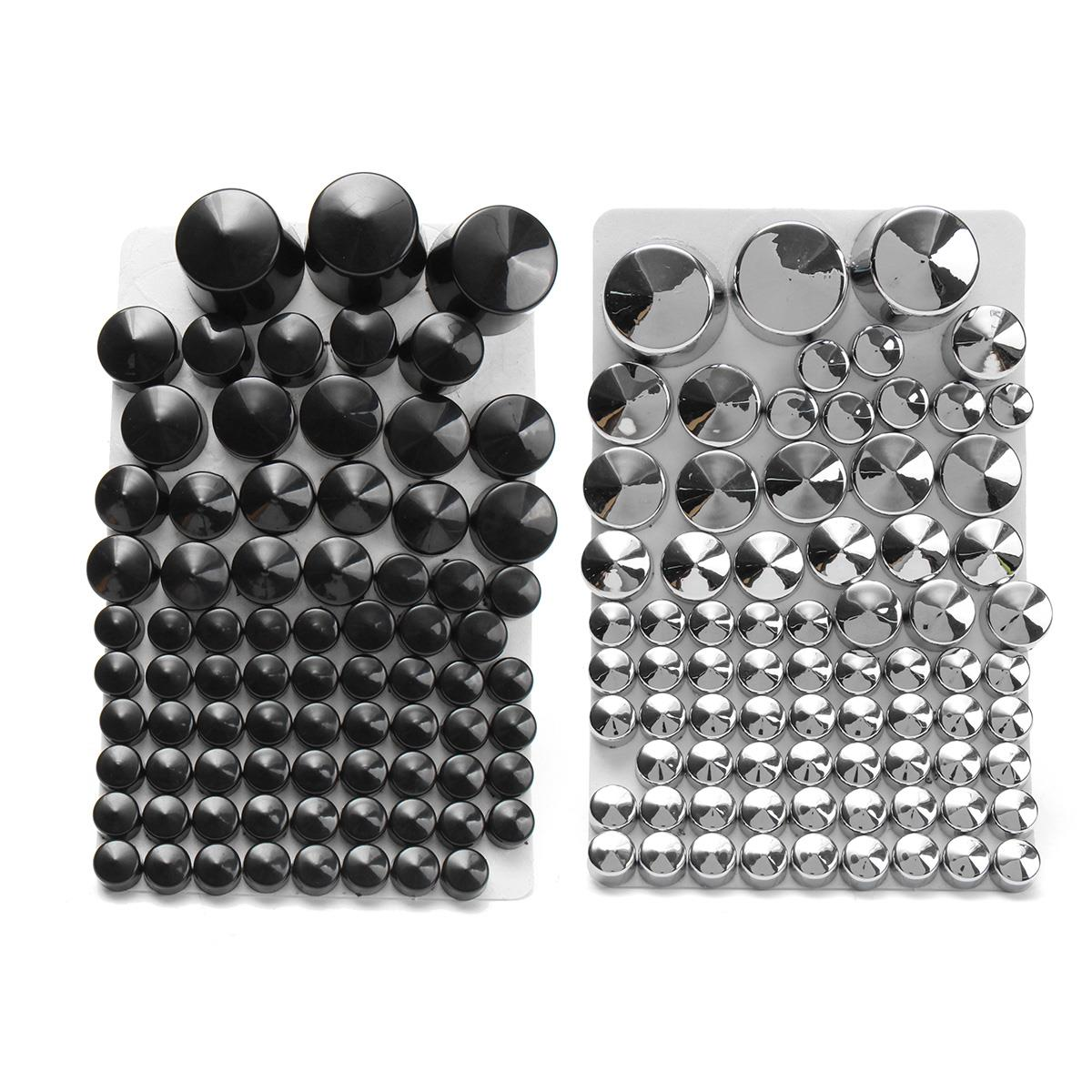 Motorcycle Chrome ABS Bolt Toppers Bolt Cap For Harley-Davidson Softail Twin Cam 1984-2006 2005 Silver/Black 87 pcs chrome custom motorcycle skeleton mirrors for harley davidson softail heritage classic