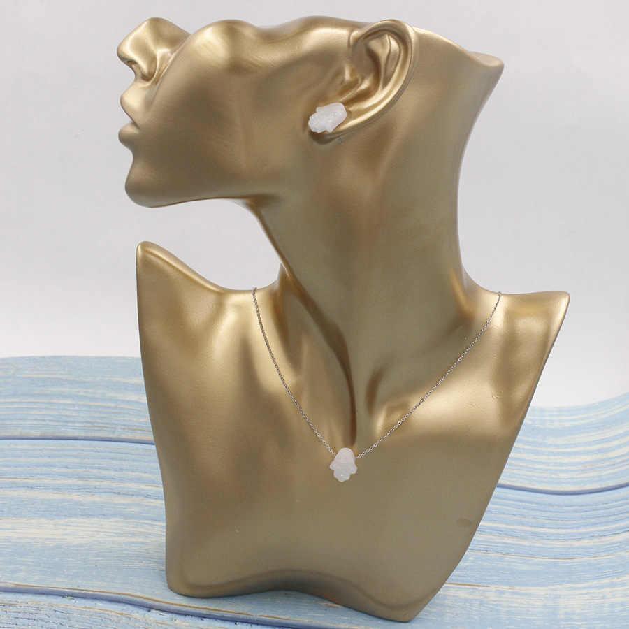 Moda niebieski biały kryształ żywica ogień Opal Hamsa ręczny wisiorek naszyjnik Fatima kolczyki dla kobiet dziewczyna izrael żydowska biżuteria zestaw