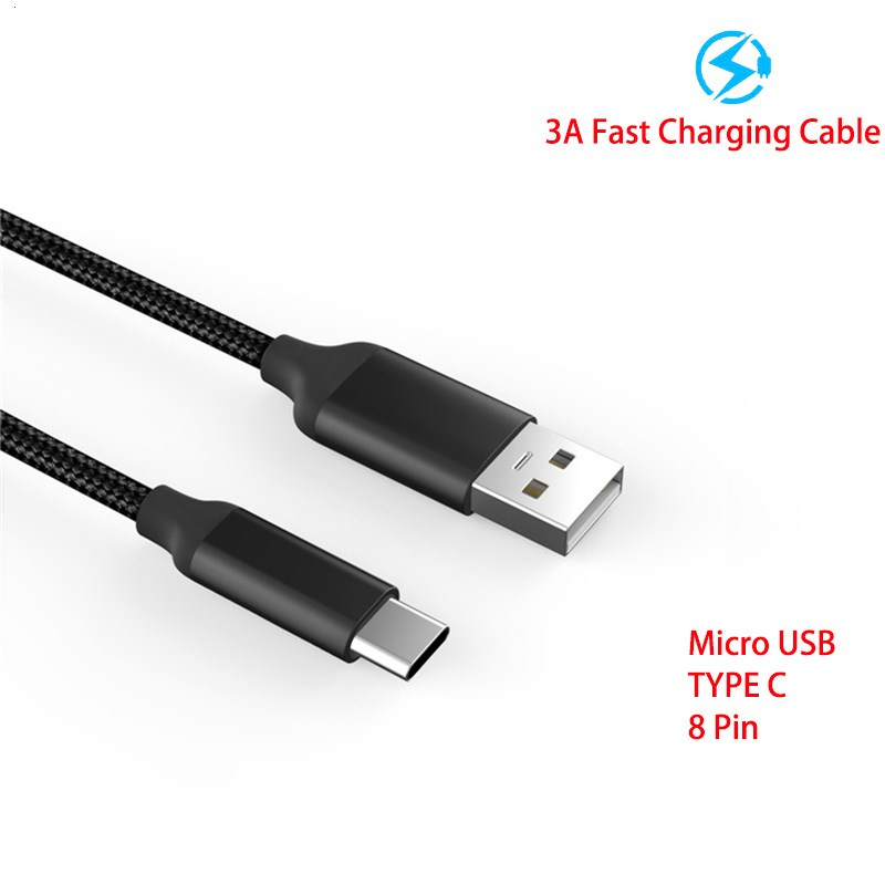 Image 2 - 30/100/200 cm 2.4A Fast Charger micro usb/type c /8 pin usb cable Braided Data Line for iphone 5 6 6s 7 8 plus x samsung huawei-in Mobile Phone Cables from Cellphones & Telecommunications