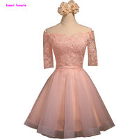 Cute Sweetheart A Line Short Prom Dress Knee Length Tulle Appliques Charming Pearl Pink Homecoming Dresses