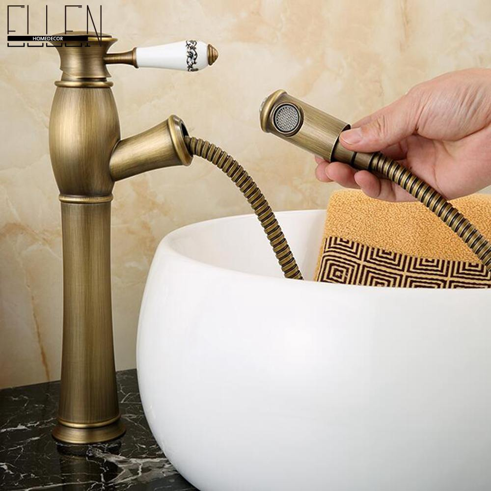 Antique Copper Bathroom Tall Faucet Pull out Basin Sink Water Mixer tap Hot and Cold Single Hole Faucets EL9601A07T pull out bathroom sink mixer tall antique bronze basin sink crane hot and cold water copper mixer tall crane 7530