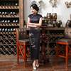 High Quality Sexy Black Mandarin Collar Satin Cheongsam Chinese Traditional Print Qipao Elegant Flower Long Dress