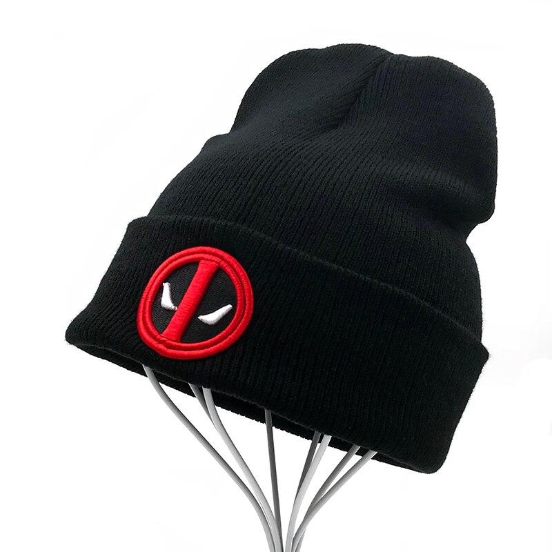 Beanies Hat Deadpool Knitted-Caps Women Skullies New Warm Hot Hip-Hop Black Soft