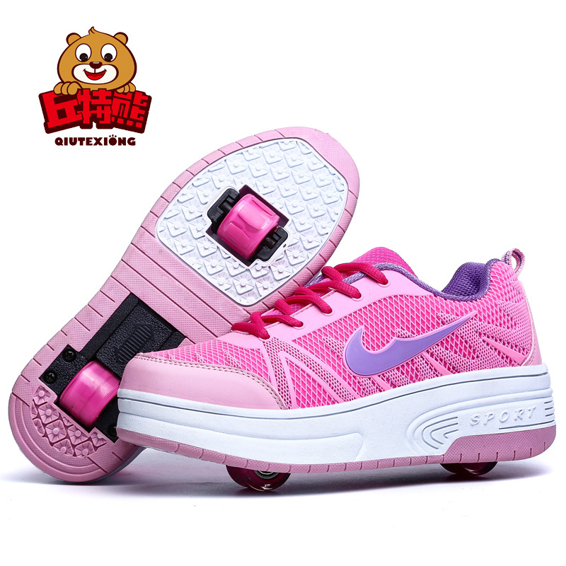 Children Shoes with Wheels Boys and Girls Two Wheels Kids Sneakers 2018 Spring Autumn Boys Sneakers Outdoor Girls Shoes Pink joyyou brand illuminated kids shoes usb children boys girls glowing luminous sneakers with light up led school footwear teenage