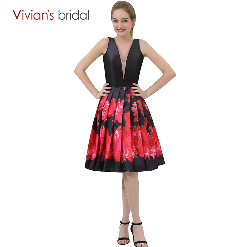 Vivian's Bridal V Neck A Line Cocktail Dresses Floral Print Party Dress Sleeveless robe cocktail courte chic
