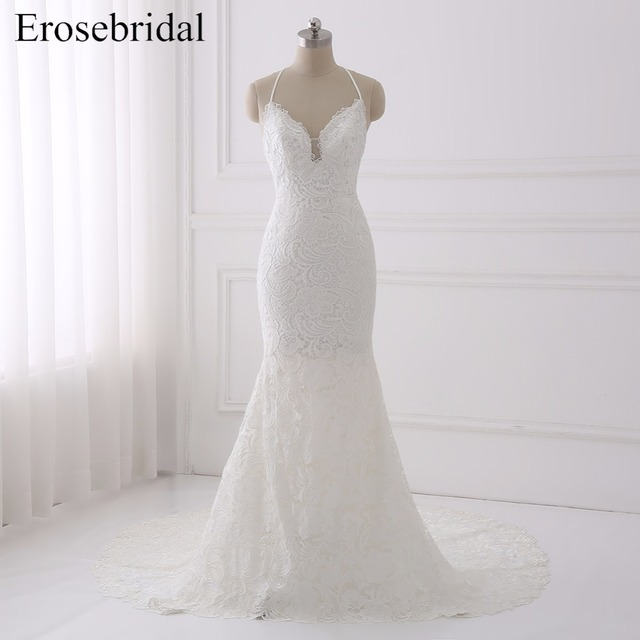 28180f7f52 White Halter Wedding Dress Lace Mermaid Sleeveless Bridal Gown with Train Wedding  Gown Backless vestito sposa