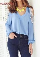 Women Female Off-Shoulder Lace Splicing Slim Fit Long Sleeve Top V-Neck Blouses Light Blue S/M/L/XL Blusas Y Camisas Mujer